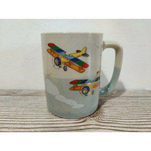 Vtg Otagiri Japan Coffee Cup Mug Airplanes Bi-plan